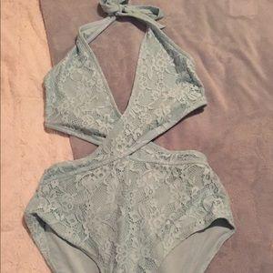 Blue lace swimsuit